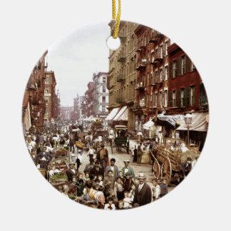 Mulberry Street NYC ca.1900 Round Ceramic Ornament
