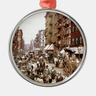 Mulberry Street NYC ca.1900 Silver-Colored Round Ornament