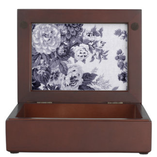 Mulberry Tone Black & White Vintage Floral Toile 4 Keepsake Box