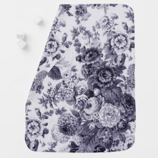 Mulberry Tone Black & White Vintage Floral Toile Baby Blanket