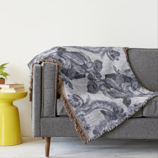 Mulberry Vintage Botanical Floral Toile Fabric Throw Blanket