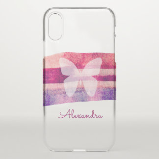 Mulberry Watercolor Butterfly Personalized iPhone X Case