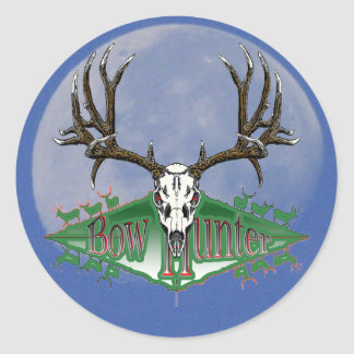 Mule deer bow hunter classic round sticker