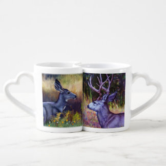 Mule Deer Buck and Doe Coffee Mug Set
