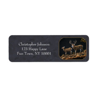 Mule Deer Buck and Doe Gray Custom Return Address Label