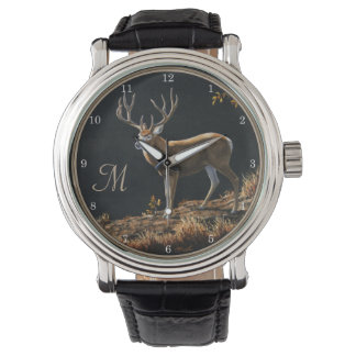 Mule Deer Buck Autumn Trophy Antlers Monogram Wristwatches
