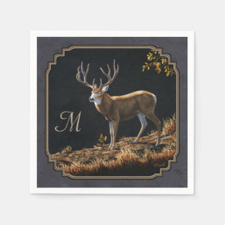 Mule Deer Buck Charcoal Gray Monogram Disposable Napkin