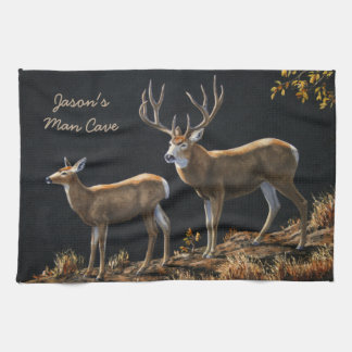 Mule Deer Buck & Doe Kitchen Towel