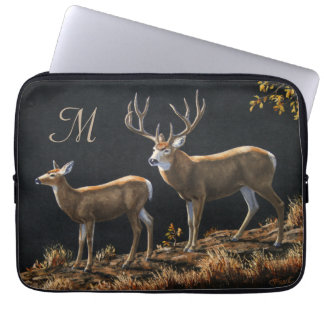 Mule Deer Buck & Doe Monogram Laptop Sleeve