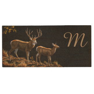 Mule Deer Buck & Doe Monogram Wood USB 3.0 Flash Drive