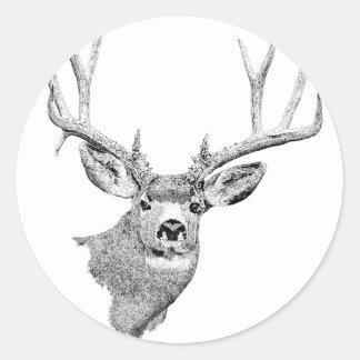 Mule Deer Classic Round Sticker