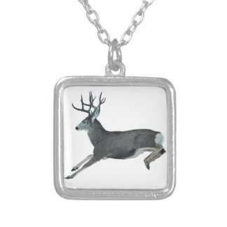 Mule deer motion silver plated necklace