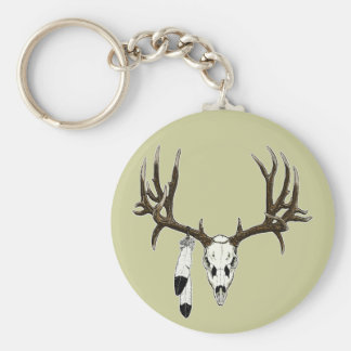 Mule deer skull eagle feather keychain