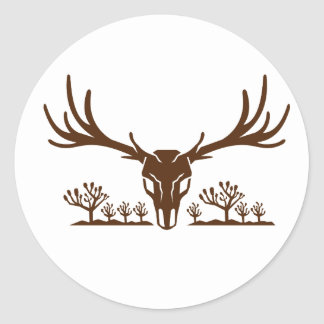 Mule Deer Skull Joshua Tree Icon Classic Round Sticker