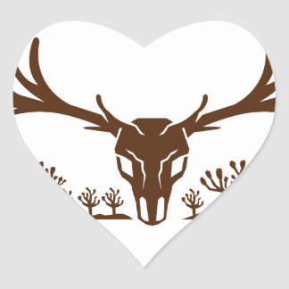 Mule Deer Skull Joshua Tree Icon Heart Sticker