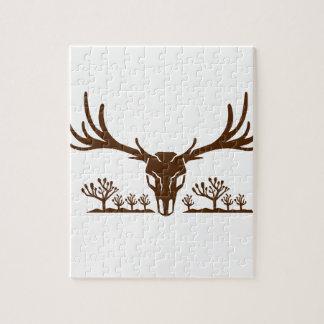 Mule Deer Skull Joshua Tree Icon Jigsaw Puzzle