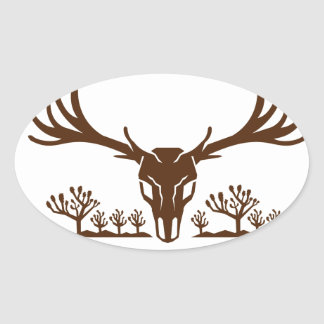Mule Deer Skull Joshua Tree Icon Oval Sticker