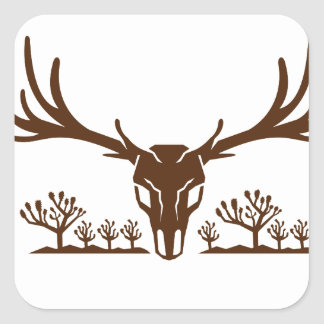 Mule Deer Skull Joshua Tree Icon Square Sticker