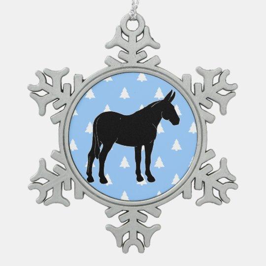 Mule Silhouette White Christmas Trees Pewter Snowflake Ornament