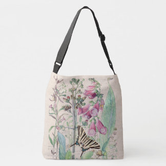 Mullein Butterfly Foxglove Flowers Tote Bag