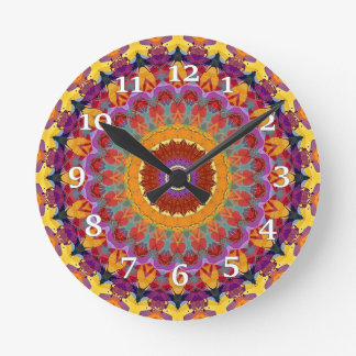MulriColored Kaleidoscope Round Clock