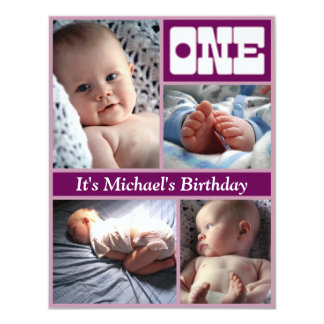 "Multi Annual Purple One Birthday Frame 4.25"" X 5.5"" Invitation Card"