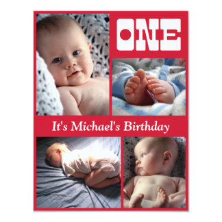 "Multi Annual Red One Birthday Frame 4.25"" X 5.5"" Invitation Card"