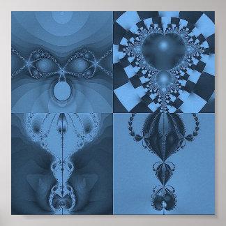Multi Blue Fractal Collage Print