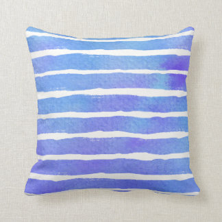 Multi Blue Pur Striped Watercolor - All Fabricks S Throw Pillow
