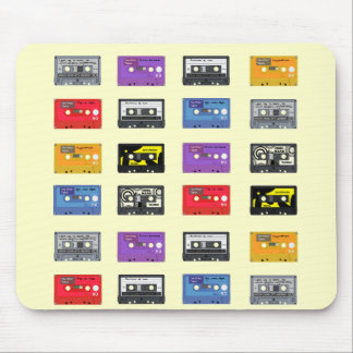 Multi Cassette Tapes Retro Music Pattern Mouse Pad