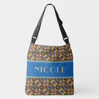 Multi-color Abstract Pattern Custom Name Crossbody Bag