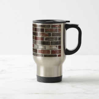 Multi color brick wall with reds, whites and brown travel mug