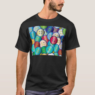 Multi Color Button Background T-Shirt