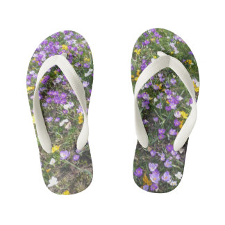 Multi Color Crocus Spring Flowers Kids Flip Flops