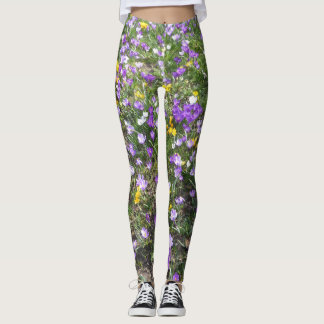 Multi Color Crocus Spring Flowers Legging