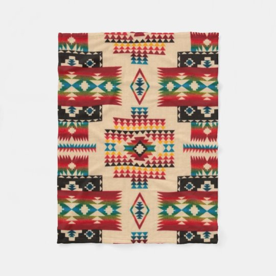 MULTI-COLOR Diamond Aztec Print Fleece Blanket