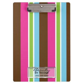 Multi Color Fun Bright Bold Colorful Stripes Clipboard