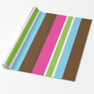 Multi Color Fun Bright Bold Colorful Stripes Wrapping Paper