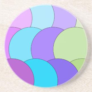 Multi-color fun circle wave beverage coasters