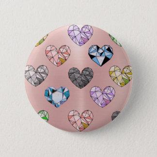 Multi color,gemstone,rose gold,modern,trendy,glam 2 inch round button