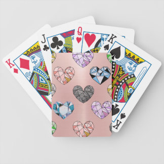 Multi color,gemstone,rose gold,modern,trendy,glam bicycle playing cards