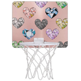 Multi color,gemstone,rose gold,modern,trendy,glam, mini basketball hoop