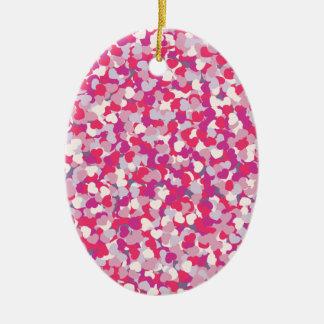 multi Color Heart Confetti2 Ceramic Ornament