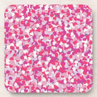 multi Color Heart Confetti2 Coaster
