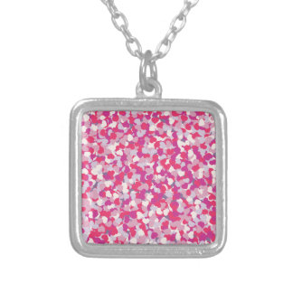 multi Color Heart Confetti2 Silver Plated Necklace