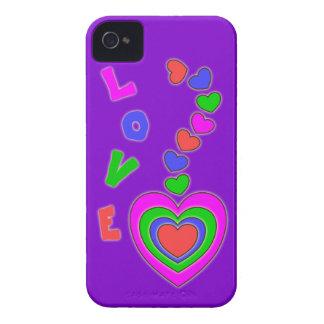 Multi Color Hearts Purple BlackBerry Bold Case