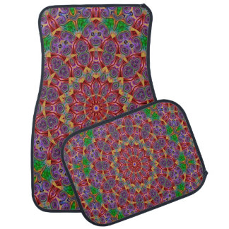 Multi-Color Kaleidoscope Design Set of 4 Car Mats