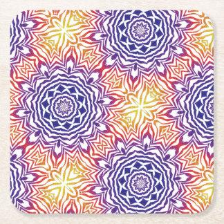 Multi-Color Kaleidoscope Tile Square Paper Coaster