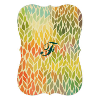 """multi color leaf pattern,trendy,abstract art,hip 5"""" x 7"""" invitation card"""