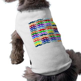 Multi color mustache pattern elegant chic cute fun doggie tee